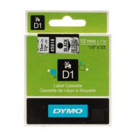 DYMO D1 Tape 12mm x 7m Black on Clear - SMOP45010