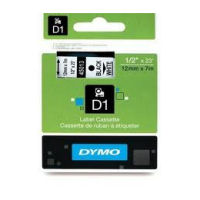DYMO D1 Tape 12mm x 7m Black on White - SMOP45013