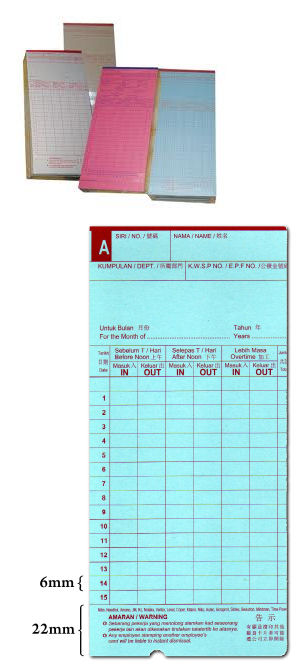 Punch Card w. Half Hole For Time Recorder Machine