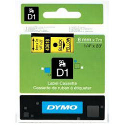 DYMO D1 Standard Tape 6mm x 7m - Black on Yellow - SMOP43618